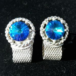 Vintage Silvertone Blue Stone Cuff Links